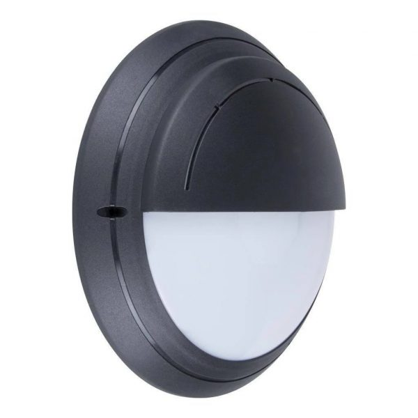 Wall Light Exterior Round Eyelid in Black or White 30cm Domus Lighting - Oz Lights Direct