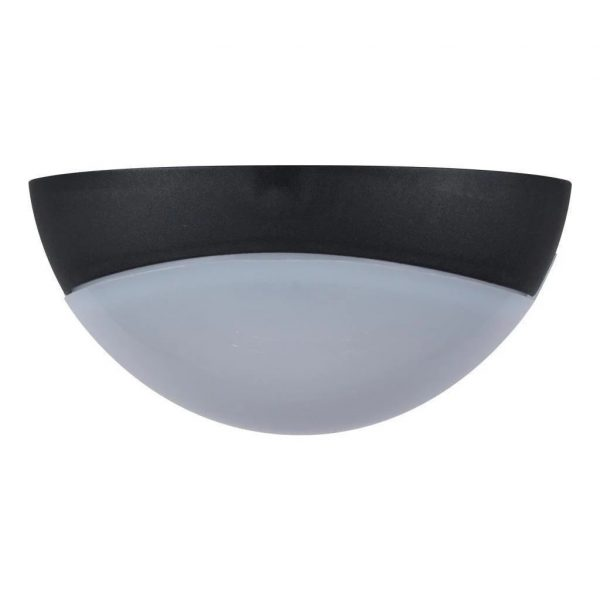 Wall Ceiling Light Exterior Round in White and Black 25cm Domus Lighting - Oz Lights Direct
