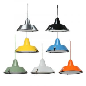 Aeson Pendant Light | Industrial Series in Aluminium, Black, Light Blue, Light Green, Luminous Yellow, Orange and White - Oz Lights Direct
