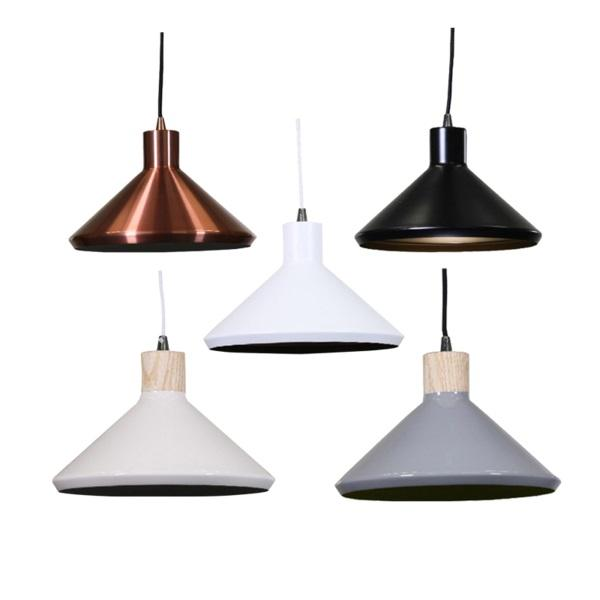 Bengt Pendant Light | Copper, Matte Black+Gold, Matte White+Gold, Wood Veneer+White,Veneer+Grey and Green Inside - Oz Lights Direct