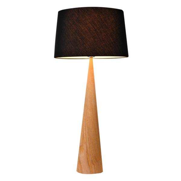 Bior Table Lamp | Wood and Black Fabric Shade - Oz Lights Direct
