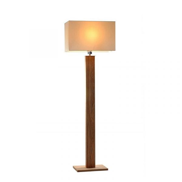 Dion Floor Lamp | Wood and Creamy White Fabric - Oz Lights Direct