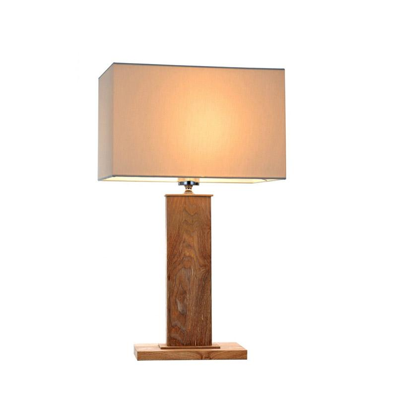 Dion Table Lamp | Wood and Creamy White Fabric - Oz Lights Direct