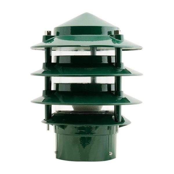 P-Bollard Light Exterior E27 Tiered Conical in Black, Green and White Domus Lighting - Oz Lights Direct