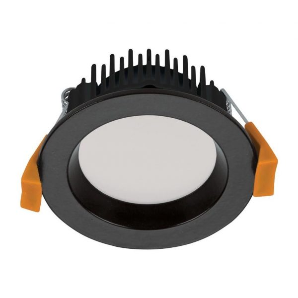 Domus Lighting DECO-8 Round 8W Dimmable LED Downlight - Trio Black Frame - Oz Lights Direct