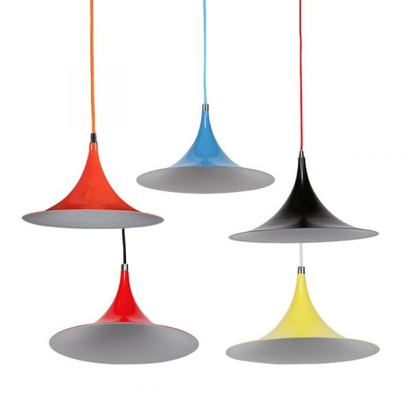 Mini Iole Pendant Light | Flame Red, Light Blue, Luminous Bright Red, Luminous Yellow, Matte Black - Oz Lights Direct
