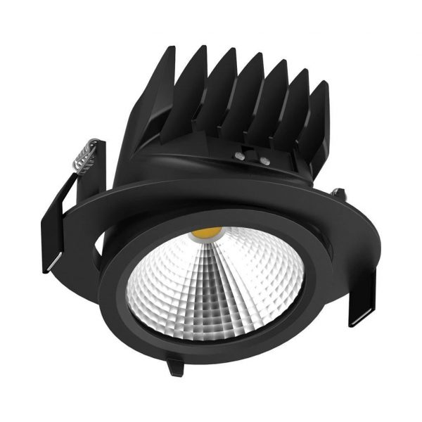 Domus Lighting SCOOP-25 Round 25W Adjustable LED Downlight - Black Frame - Oz Lights Direct
